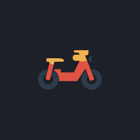 motocycle: motorcycle Color vector icon on dark background Illustration