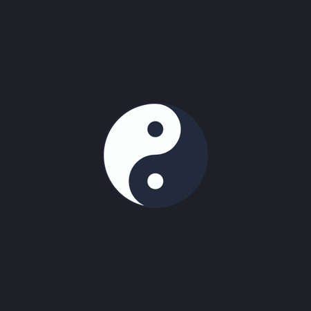 yinyang: Ying yang Color vector icon on dark background Illustration