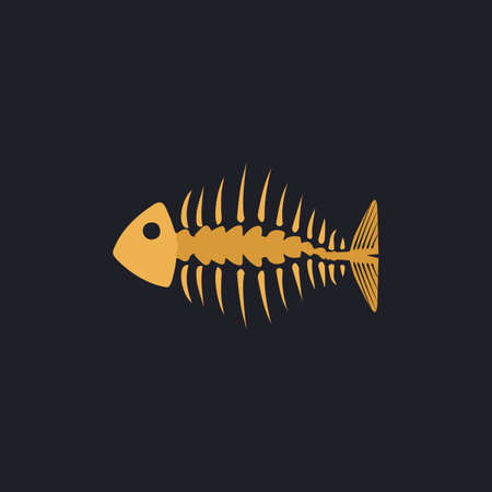 fishbone: Fishbone Color vector icon on dark background