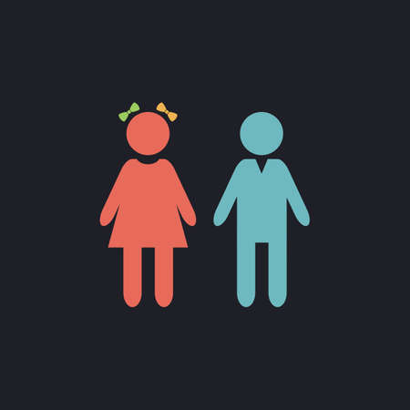 girl and boy Color vector icon on dark background