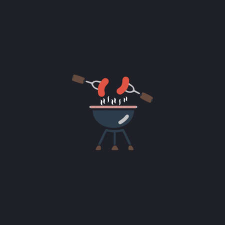woodpile: Grill Color vector icon on dark background Illustration