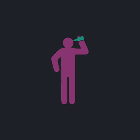 drunkard: drunkard Color vector icon on dark background Illustration