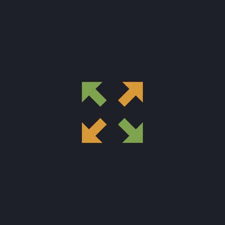 geocache: four arrows Color vector icon on dark background