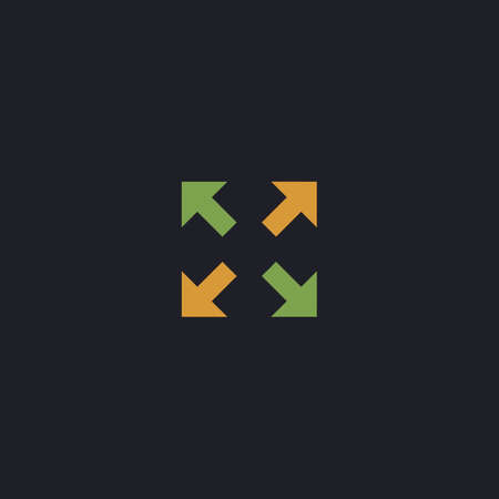 four arrows Color vector icon on dark background
