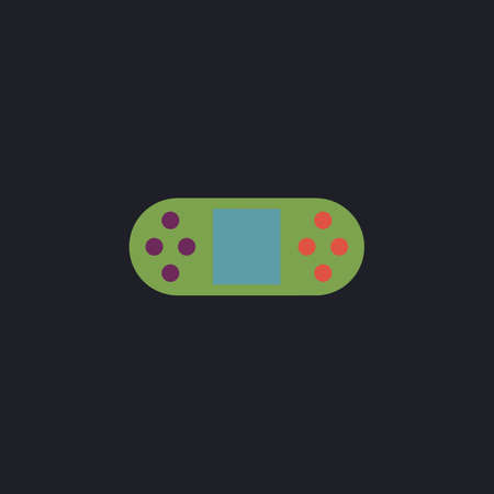 portable console: Game Console Color vector icon on dark background Illustration