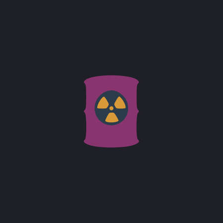 nuclear waste disposal: Radioactive waste Color vector icon on dark background