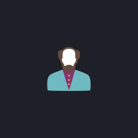bald man: Bald Man Color vector icon on dark background Illustration