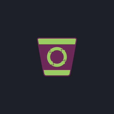 papelera de reciclaje: Papelera de reciclaje color del icono del vector en fondo oscuro Vectores