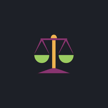acquittal: Mechanical scales Color vector icon on dark background