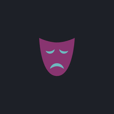 tragedy mask: tragedy mask Color vector icon on dark background