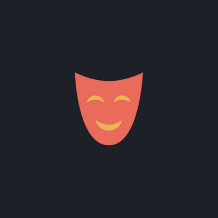 comedy mask: comedy mask Color vector icon on dark background