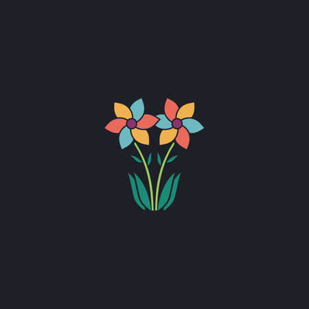 posterity: Flower Color vector icon on dark background Illustration