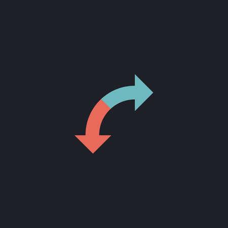no u turn sign: U-Turn Color vector icon on dark background
