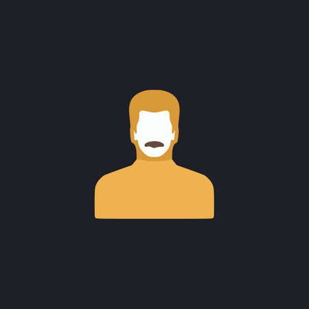 alluring: mustached man Color vector icon on dark background