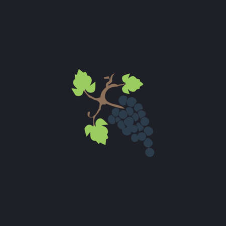 peasant household: grapes Color vector icon on dark background