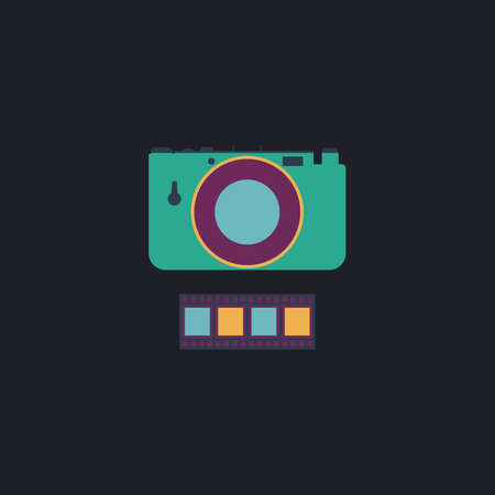journalistic: Camera Color vector icon on dark background Illustration