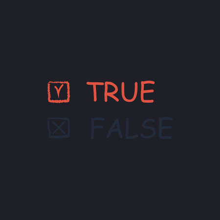 true or false: True and False Color vector icon on dark background