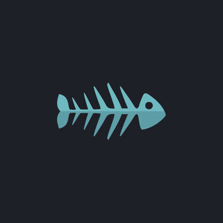 illustration of black fishbone: Fish skeleton Color vector icon on dark background Illustration
