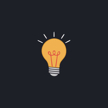 Light lamp Color vector icon on dark background