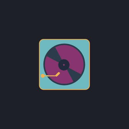 vinyl disk player: Vinyl turntable Color vector icon on dark background Illustration