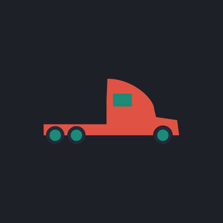 18 wheeler: cargo truck Color vector icon on dark background