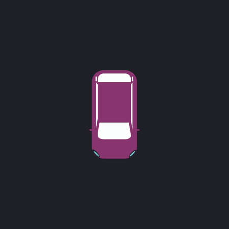 cabrio: top view car Color vector icon on dark background Illustration