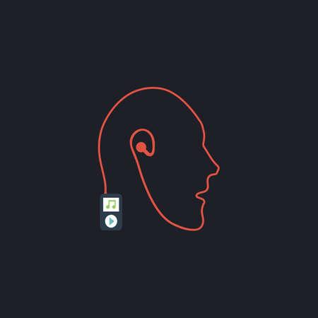 live stream listening: Favorite music Color vector icon on dark background