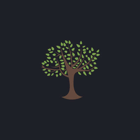 reforestation: Maple tree Color vector icon on dark background