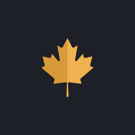 calgary: Canadian Leaf Color vector icon on dark background Illustration