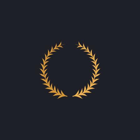 laureate wreath Color vector icon on dark background Illustration