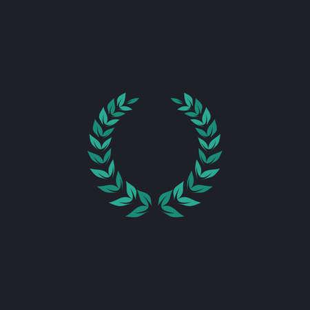 laureate: winner wreath Color vector icon on dark background