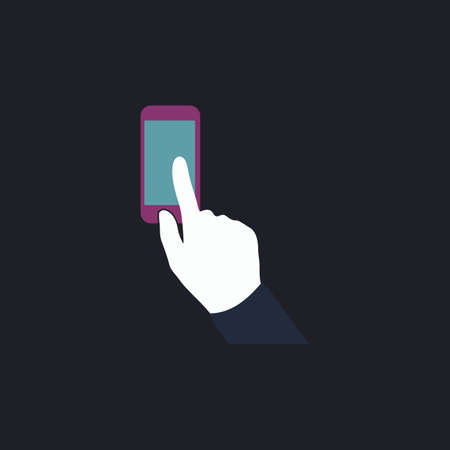 cellphone in hand: Use phone Color vector icon on dark background