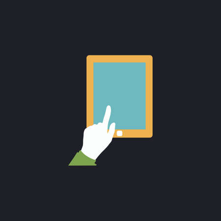 pictogrammes: click tablet Color vector icon on dark background