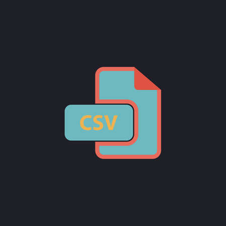 CSV Color vector icon on dark background Illustration