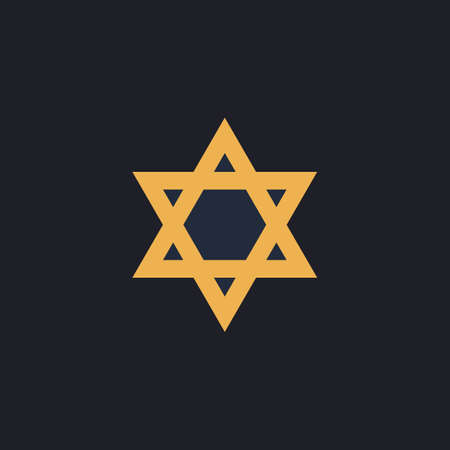 chanuka: David Star Color vector icon on dark background