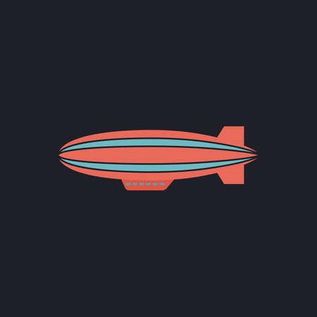 blimp: blimp Color vector icon on dark background