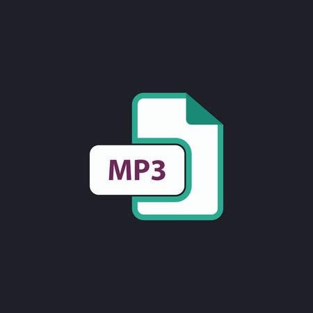 mp3: MP3 Color vector icon on dark background Illustration
