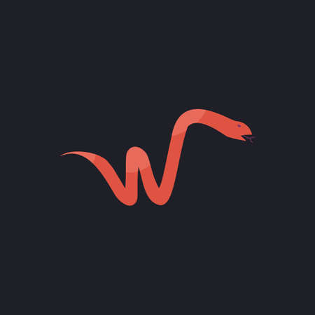 forked tongue: Snake Color vector icon on dark background