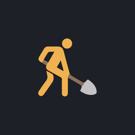 Digging man. Vector illustration of animation throwing the ground ahead Color vector icon on dark background