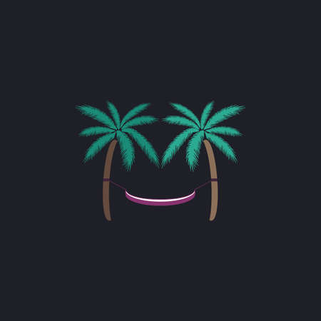 hammock: Hammock Color vector icon on dark background Illustration