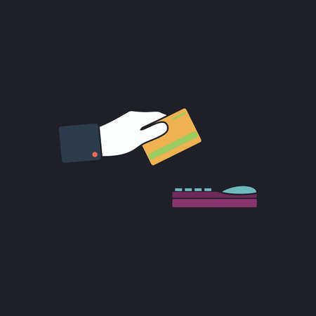checking accounts: payment Color vector icon on dark background Illustration