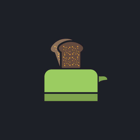 Toaster Color vector icon on dark background