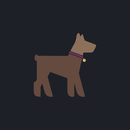 whelp: Dog Color vector icon on dark background