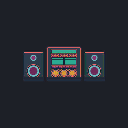 surround system: Sound System Color vector icon on dark background