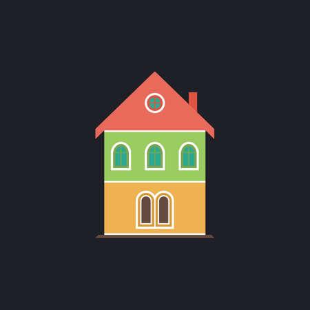 building color: building Color vector icon on dark background Illustration