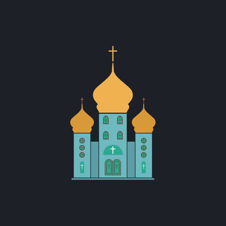 doctrine: Church Color vector icon on dark background