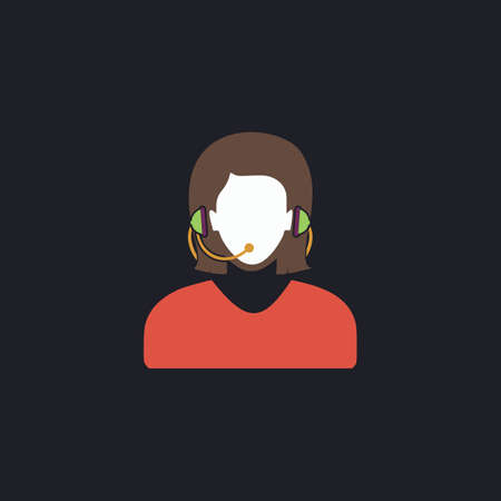 telephonist: telephonist Color vector icon on dark background Illustration