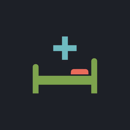 surgery stretcher: Hospital bed Color vector icon on dark background Illustration
