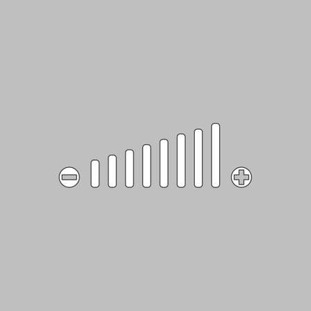 mixing console: Volume adjustment Simple line vector button. Thin line illustration icon. White outline symbol on grey background