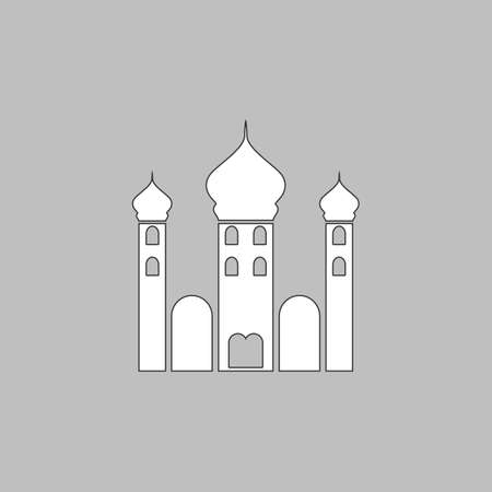 Mosque Simple line vector button. Thin line illustration icon. White outline symbol on grey background Illustration